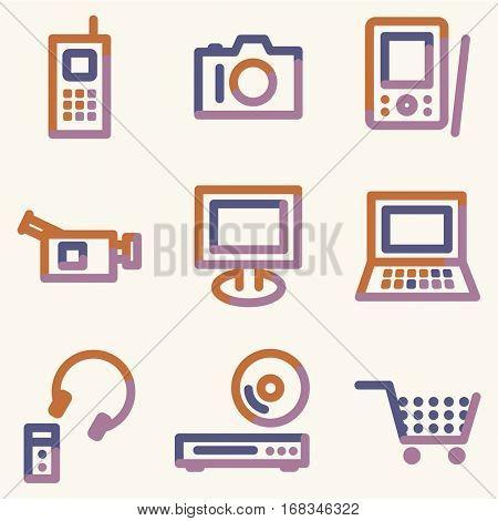Electronics icons, color contour series