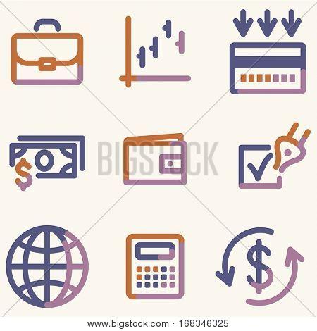 Finance icons, color contour series