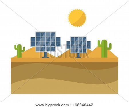 Blue solar panels flat modern alternative eco energy vector illustration. Photovoltaic conservation innovation electricity battery. Nature industry power generator.