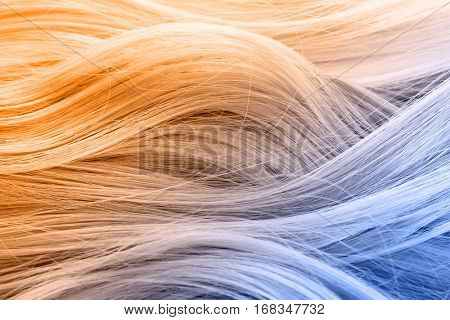 Trendy hairstyle concept. Colorful dyed hair background