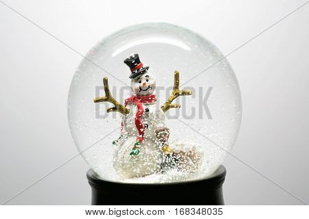 Winter Snow Globe With Snowman On White