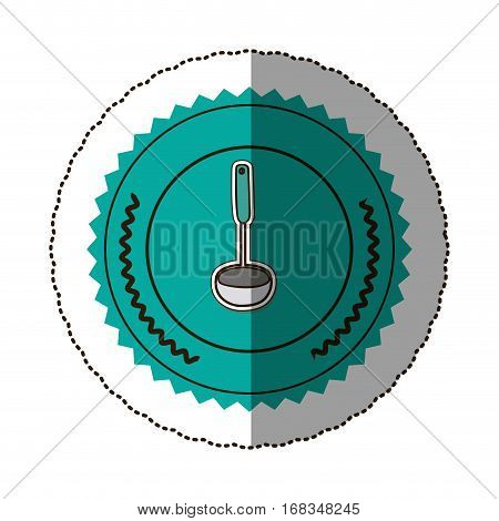 sticker color round frame with soup ladle vector illustration