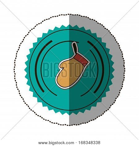 sticker color round frame with oven mitts vector illustration