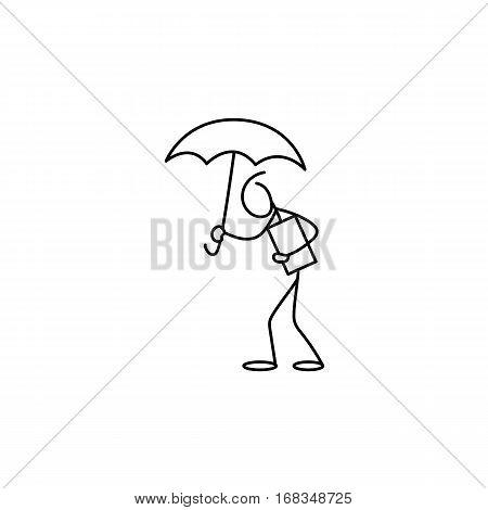 Stick figure man under rain holding umbrella vector