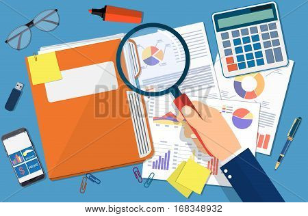 Hand with magnifying glass, analysis of financial report. Financial audit concept. Auditing tax process. vector illustration in flat design.