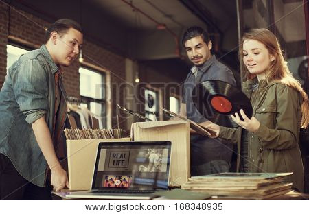 Vinyl Record Store Music Shopping Oldschool Classic Concept
