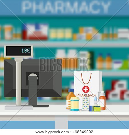 Modern interior pharmacy and drugstore. paper packet with medicine pills bottles liquids and capsules. vector illustration in flat style.