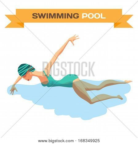 Young woman in sports swimsuit swims in the pool front crawl style. Flat cartoon isolated vector illustration