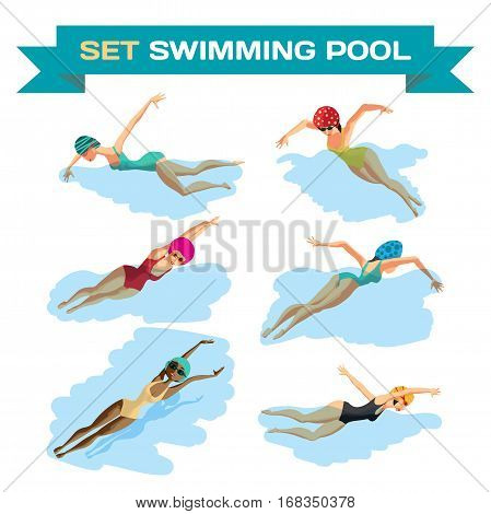 Set of young women in sports swimsuit swims in the pool. Flat cartoon isolated vector illustration