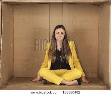 Woman Sitting In An Empty Office