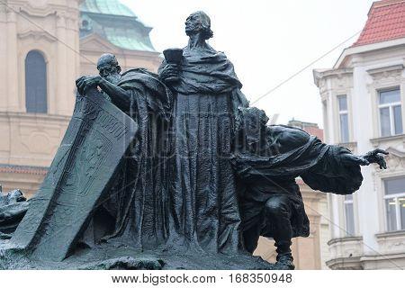 Prague, Czechia - November, 21, 2016: monument of Jan Hus in a center of Prague, Czechia