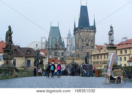 Prague, Czechia - November, 21, 2016: monument on Charles bridge in a center of Prague, Czechia