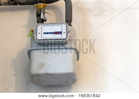 Gas Meter In A House Under Renewal. Indoor Gas Meter Used For Measuring Natural Gas Consumption In B