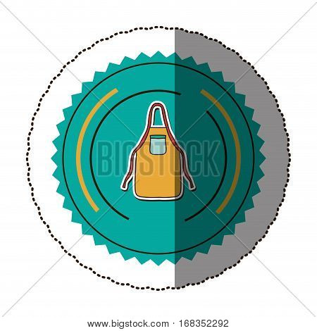 sticker color round frame with kitchen apron vector illustration