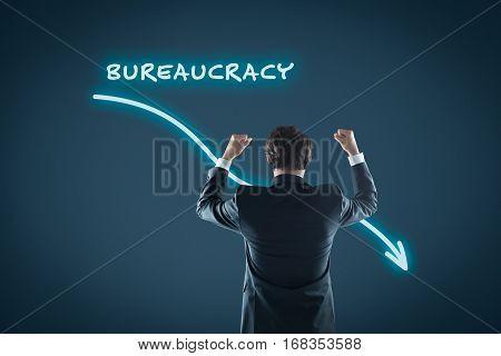 Bureaucracy reduction concept. Businessman celebrate bureaucracy reduction.