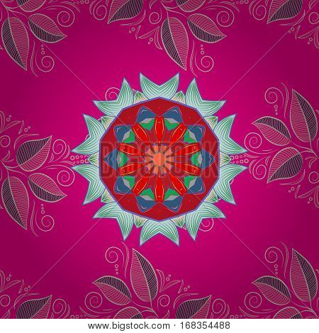 Template for carpet shawl wallpaper embroidery textile. Radial gradient shape. Seamless pink and blue pattern of mandala. Colorful oriental ornament.