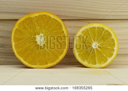 cut fresh juicy natural sour orange lemon