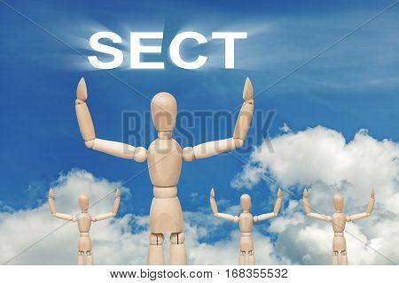 Wooden dummy puppet on sky background with word SECT. Abstract conceptual image