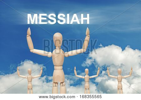 Wooden dummy puppet on sky background with word MESSIAH. Abstract conceptual image