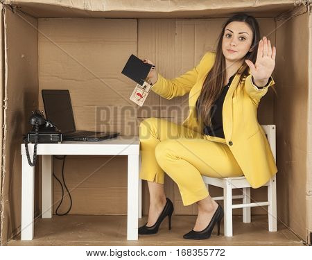 Business Woman Performs A Gesture Stop, Taking Bribes