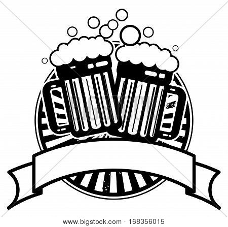 Icon with beer mugs and space for text