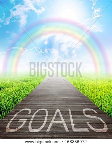 Wooden bridge and landscape background with goals words Business concept photo.