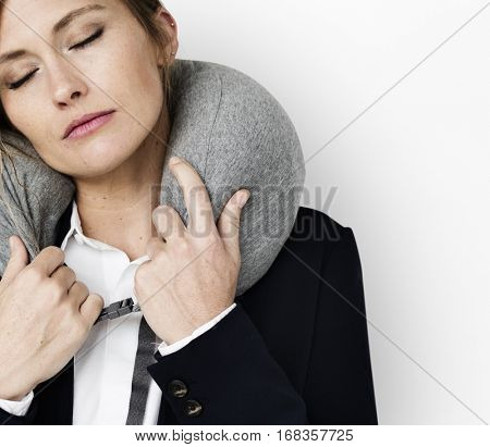 Caucasian Woman Travel Pillow Concept