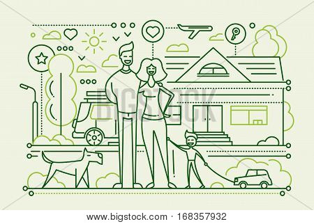 Family life - vector modern simple line flat design city composition with a happy family