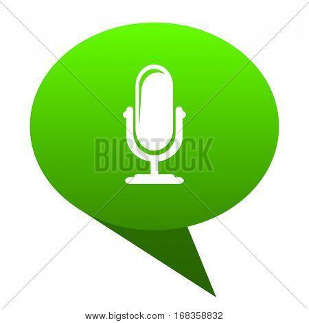 microphone green bubble web icon