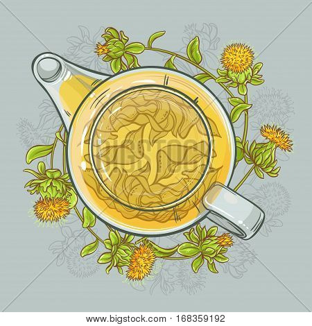vector illustration with safflower tea in teapot