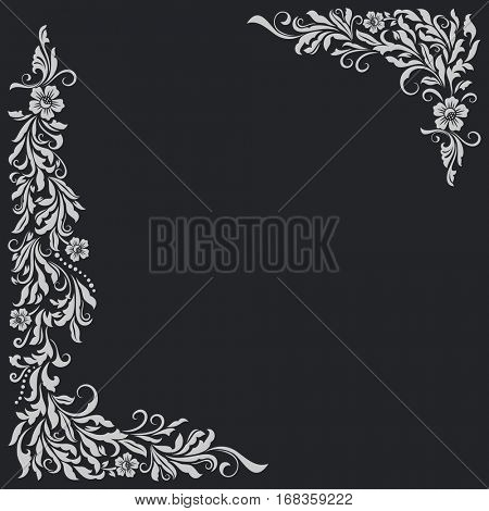 Vintage black card with floral corner design elements vector template.