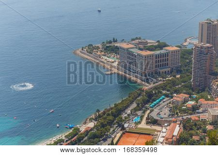 overlooking Mediterranean Sea, coast and residential districts of Monte Carlo