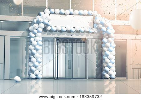 New business grand opening mockup celebration at the office entrance 3d rendering. Blank signage banner under store entry confetti and balloons decorated supermarket exterior. Progress and success.