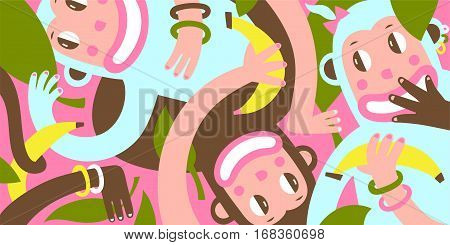 Colorful amusing smiling monkeys with bananas interwoven cartoon background. Vector flat illustration