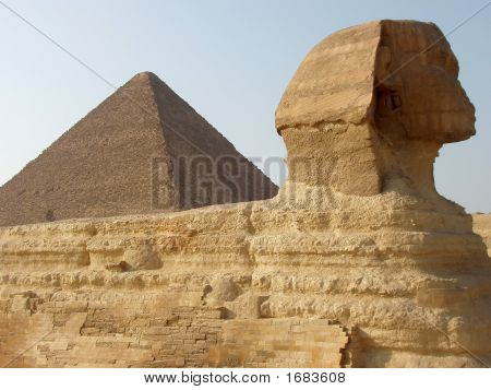 Pyramid  And The Sphinx In Egypt