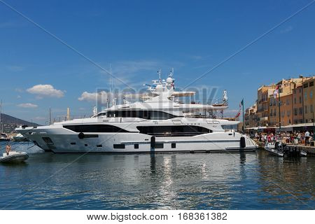 SAINT-TROPEZ, FRANCE - AUG 2, 2016: First building of new model 116 Mediterraneo shipyard Benetti of Displacement Class line, luxury yacht