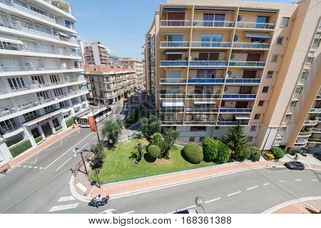 MONTE CARLO, MONACO - AUG 3, 2016: view of apartment building of one of densely populated districts of Monaco