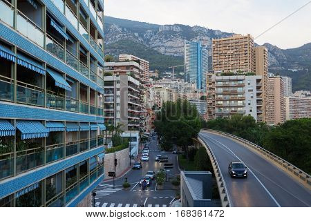 multi-level car isolation and residential area of Monaco, evening