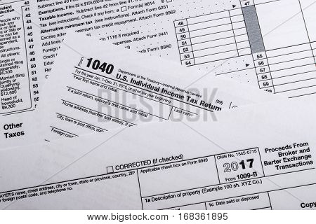 A shot of IRS Form 1099-B: Proceeds Form Broker and Barter Exchange Transactions tax form.