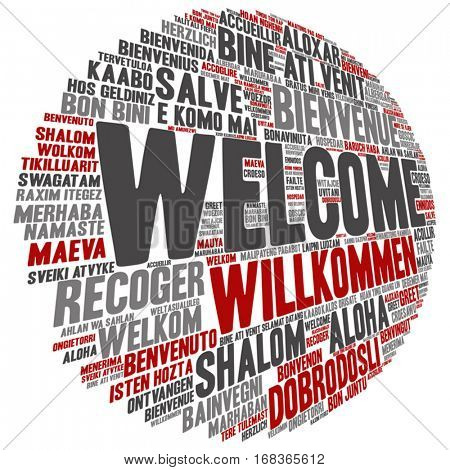 Vector concept abstract round welcome or greeting international word cloud in different languages or multilingual isolated on background