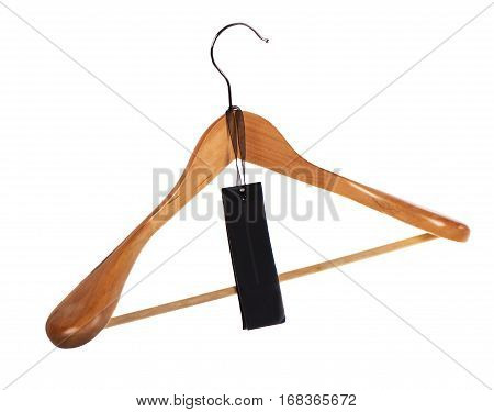 hanger for clothes and a black label, the price tag