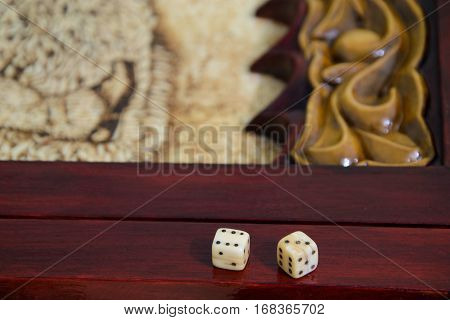playing dice on a game board. backgammon game