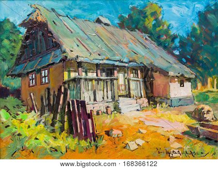 Transylvania architecture landscape handmade painting of village art attraction.