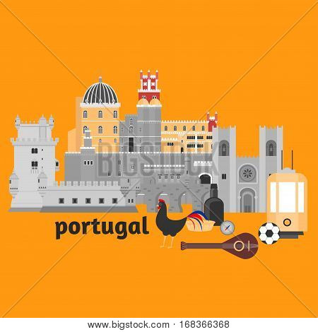 Travel landmark Portugal elements. Flat architecture and building icons Tower Belem Sintra castle Pena Palace aqueduct of freedom name Aguas libre and Cathedral of Lisbon. National portuguese symbol fado music wine porto. Dessert pastel rooster ball yello