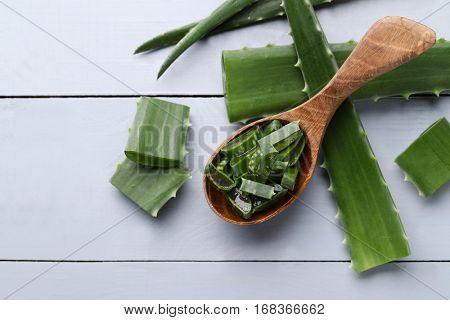 Medicine. Aloe vera on the table