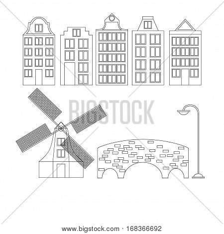 Amsterdam city flat line art. Travel landmark architecture of netherlands Holland houses european building isolated set windmill bridge and lamp.