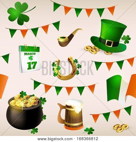Seamless pattern of illustrations for celebrating St. Patrick's Day. Leprechaun hat, pot of gold, clover and flag.