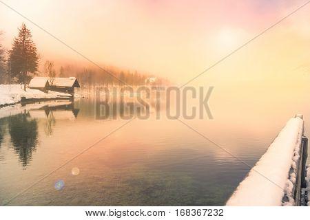 Winter Time In Lake Bohinj-slovenia