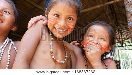 Native Brazilian children playing in Amazon, Brazil