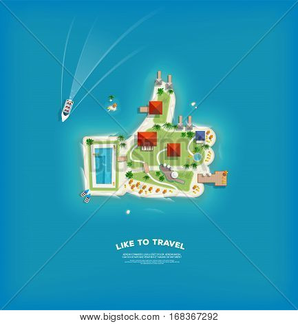 Top view of the island in the form of a like. Finger up island. Time to travel and vacations poster. Holiday trip. Travel and tourism.